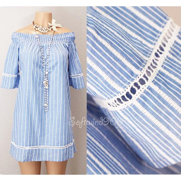 876bf507b7bc Blue White Stripes 100% Cotton Off Shoulder Dress
